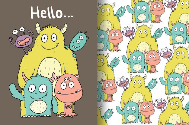 Cute monsters are hand drawn with editable patterns
