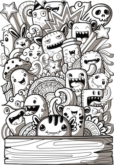 Cute monsters collection in doodle style