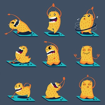 Cute monsters in different yoga poses. vector cartoon characters set isolated