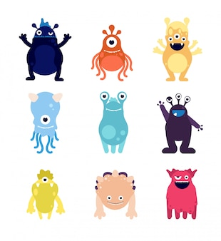 Cute monsters. funny monster aliens mascots. crazy hungry halloween toys  cartoon  characters