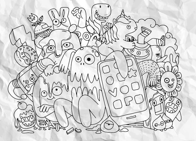 かわいいモンスターグループ、面白いかわいいモンスター、エイリアン、またはファンタジー動物のセット塗り絵のデザインのために、手描きの線画漫画ベクトルイラスト Premiumベクター