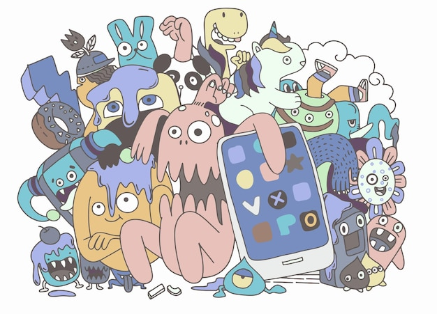 かわいいモンスターグループ、カードやtシャツをグレッティングするための面白いかわいいモンスター、エイリアン、ファンタジー動物のセット。手描き線画漫画ベクトルイラスト