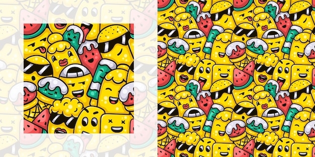 Cute monsters having ice cream and popsicles with watermelon in summer seamless doodle pattern