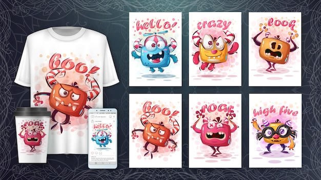 Cute monsters illustration and merchandising