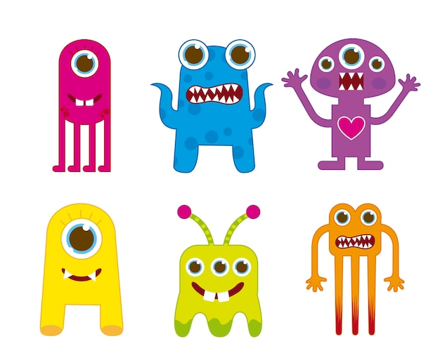 Cute monsters isolated