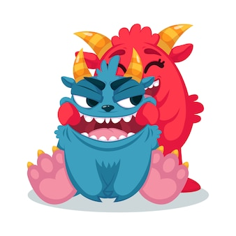 Cute monsters pulls a smile.