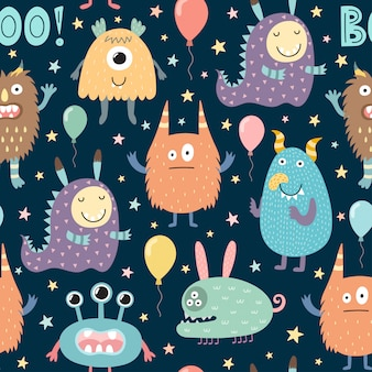 Cute monsters seamless pattern