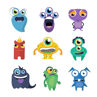귀여운 괴물 벡터 만화 스타일에서 설정합니다. 외계인 만화 캐릭터, 생물 컬렉션 재미있는 그림