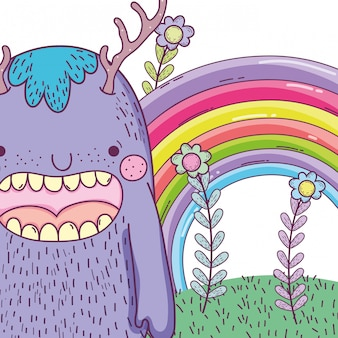 Cute monter creature with antlers and rainbow