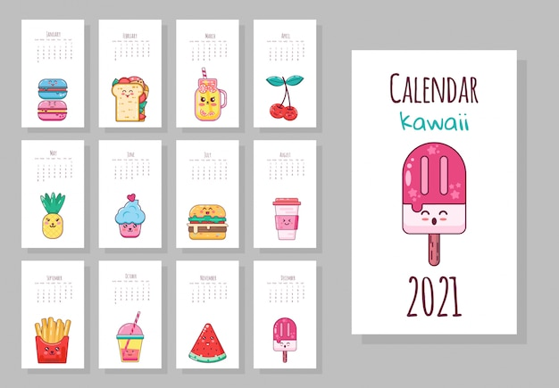 食品オブジェクト、フルーツ、アイスクリーム、コーヒー、フライドポテトとかわいい月間カレンダー