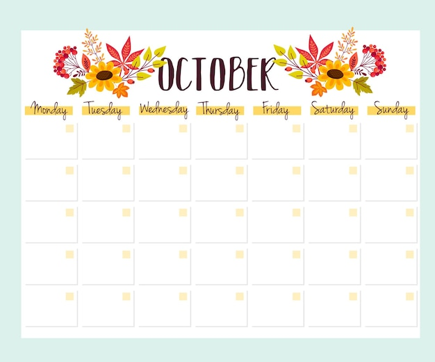Cute monthly planner with flowers, to do list, notes, printable. autumn design. vector.