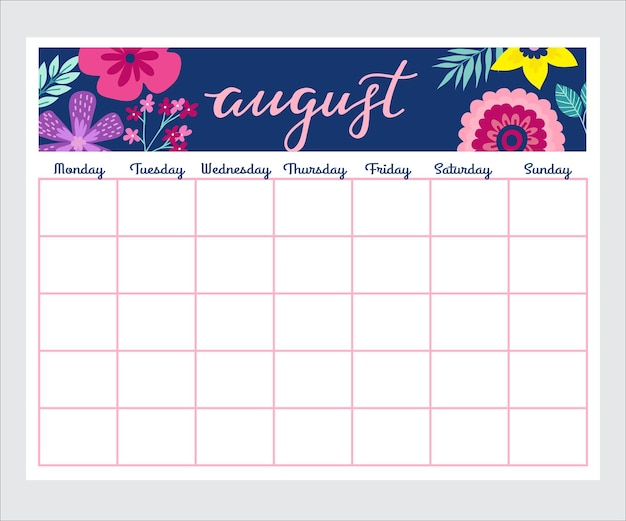 Cute monthly planner with flowers, to do list, notes, printable, vector