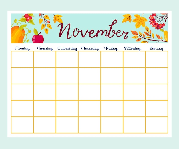花のかわいいマンスリープランナー、リスト、メモ、印刷可能。秋のデザイン。ベクター。