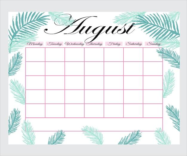 꽃이 있는 귀여운 월간 플래너, 할 일 목록, 메모, 인쇄 가능, 벡터