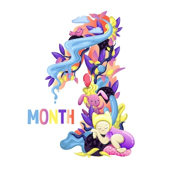 Cute months sticker with animals for baby. baby shower party, month sticker. number 1. happy birth. vector eps10.