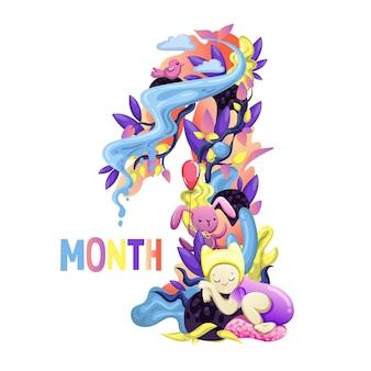 Симпатичная наклейка месяцев с животными для ребенка. детский душ, наклейка на месяц. номер 1. с рождением. eps10 вектор.