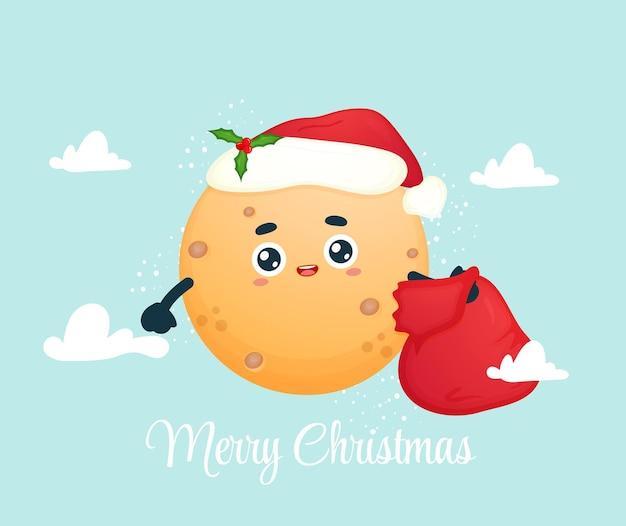 Милая луна несет мешок с подарками на рождественский праздник premium векторы