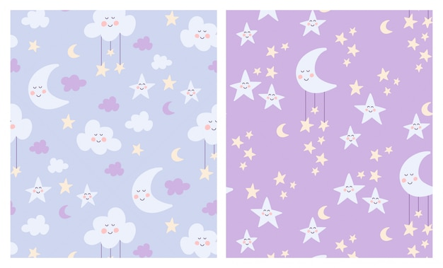 Cute moon, clouds and stars seamless patterns set