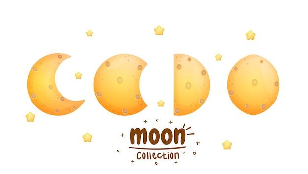 かわいい月のコレクションプレミアムベクトル