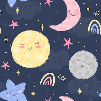 Cute moon, crescent, planet and stars on the night background with clouds. hand drawn seamless pattern. illustration for kids room and fabric