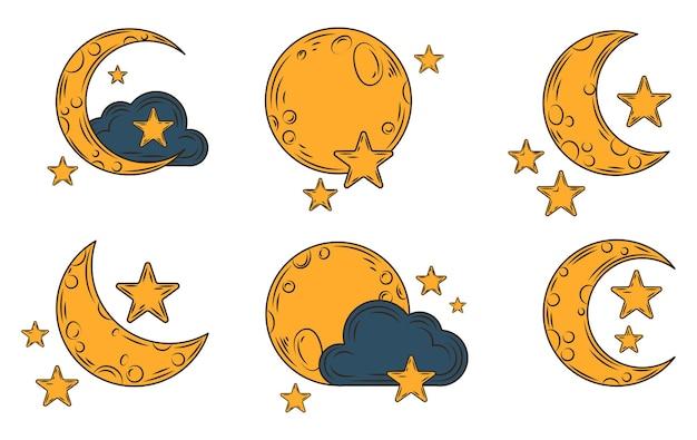 Симпатичная коллекция иллюстраций элементов луны