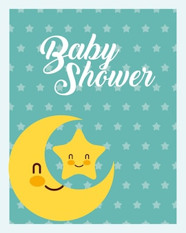 Cute moon and star dots background baby shower card