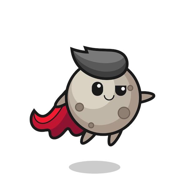귀여운 달 슈퍼히어로 캐릭터가 날고 있고, 티셔츠, 스티커, 로고 요소를 위한 귀여운 스타일 디자인