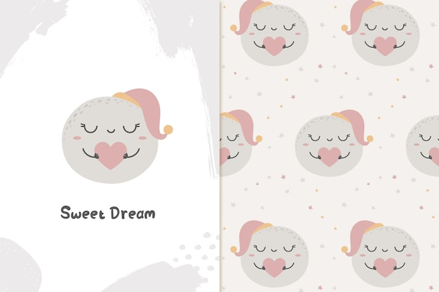 Cute moon sweet dreams illustration and pattern