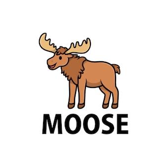 Симпатичный лось мультфильм логотип значок иллюстрации