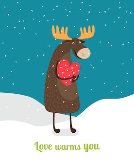 Cute moose standing on snow hugging red heart under falling snowflakes. love warms you.