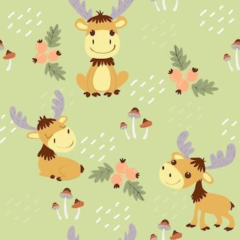 Cute moose in the wildlands seamless pattern