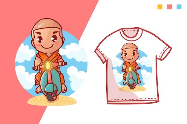 Милый мопед монах футболка дизайн шаблона