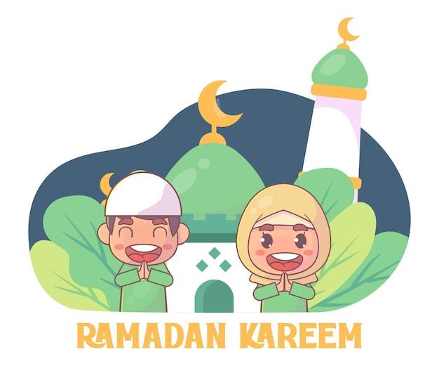 Милый мусульманский мальчик и девочка приветствуют рамадан карим