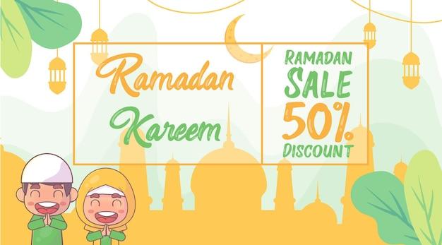 귀여운 이슬람교도 소년과 소녀 라마단 카림 판매 배너