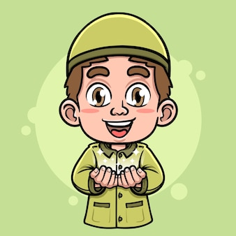 祈りのイラストをやっているかわいいイスラム教徒の少年のキャラクター