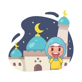 귀여운 이슬람 소녀 이슬람