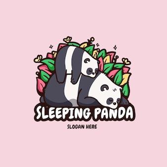 かわいい母と赤ちゃんパンダ眠っているロゴイラスト Premiumベクター