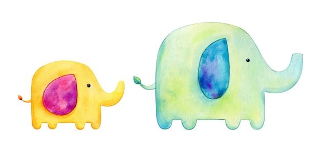 かわいい母と子象の水彩イラスト
