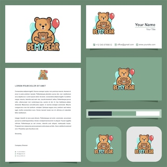 Cute mother and baby panda and business card premium vector