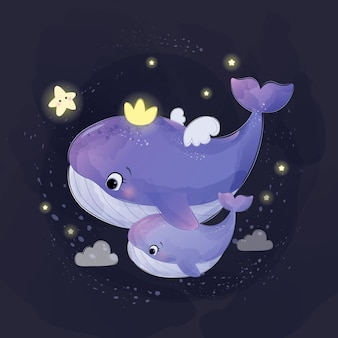 Cute mother and baby whale illustration in watercolor style