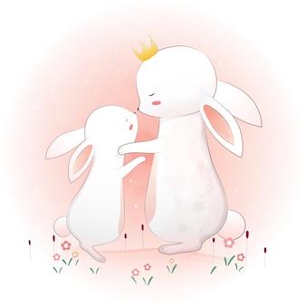 かわいい母ウサギと小さなウサギ。