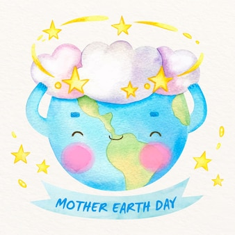 Cute mother earth day in watercolor