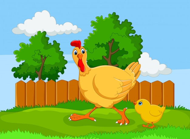 かわいい母鶏とカブス