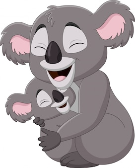 Cute mother koala and baby hugging