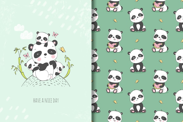 Cute mother panda with her kids illustration. hand drawn card and seamless pattern