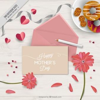 분홍색 봉투와 함께 귀여운 어머니의 날 배경