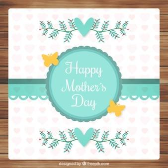 ヴィンテージデザインの葉と蝶かわいい母の日カード