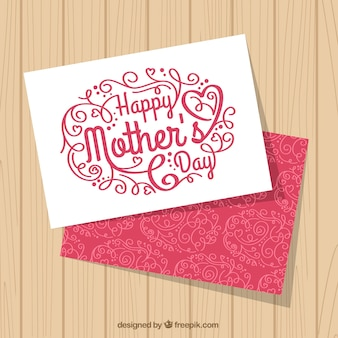 Cute mother's day greeting card with ornamental decoration