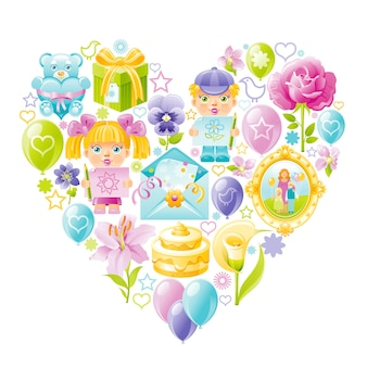 Cute mother's day icon set.