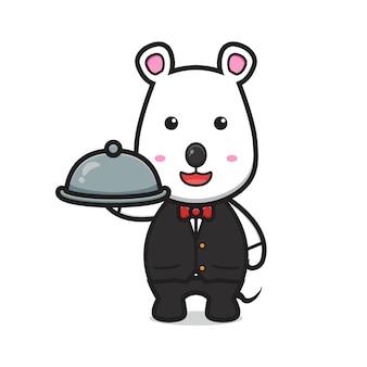 핫 플레이트 만화 벡터 아이콘 그림을 들고 웨이트리스로 귀여운 마우스. 격리 된 평면 만화 스타일을 디자인합니다.